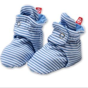 Zutano Baby Blue & White Candy Stripe Booties